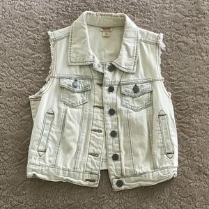 Mossimo jean jacket, off white distressed
